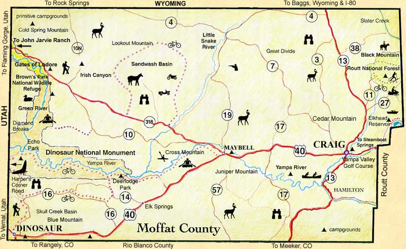 Moffat County Colorado Cities Towns And Places - Colorado cities map