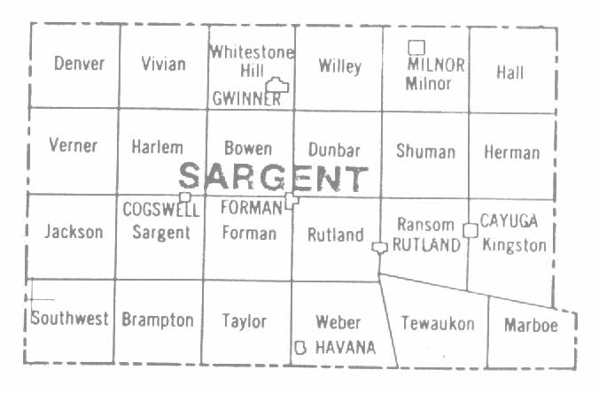 stownships Sargent County Map Of North Dakota on map of gwinner north dakota, map of wahpeton north dakota, map of oakes north dakota, map of sarasota county florida,