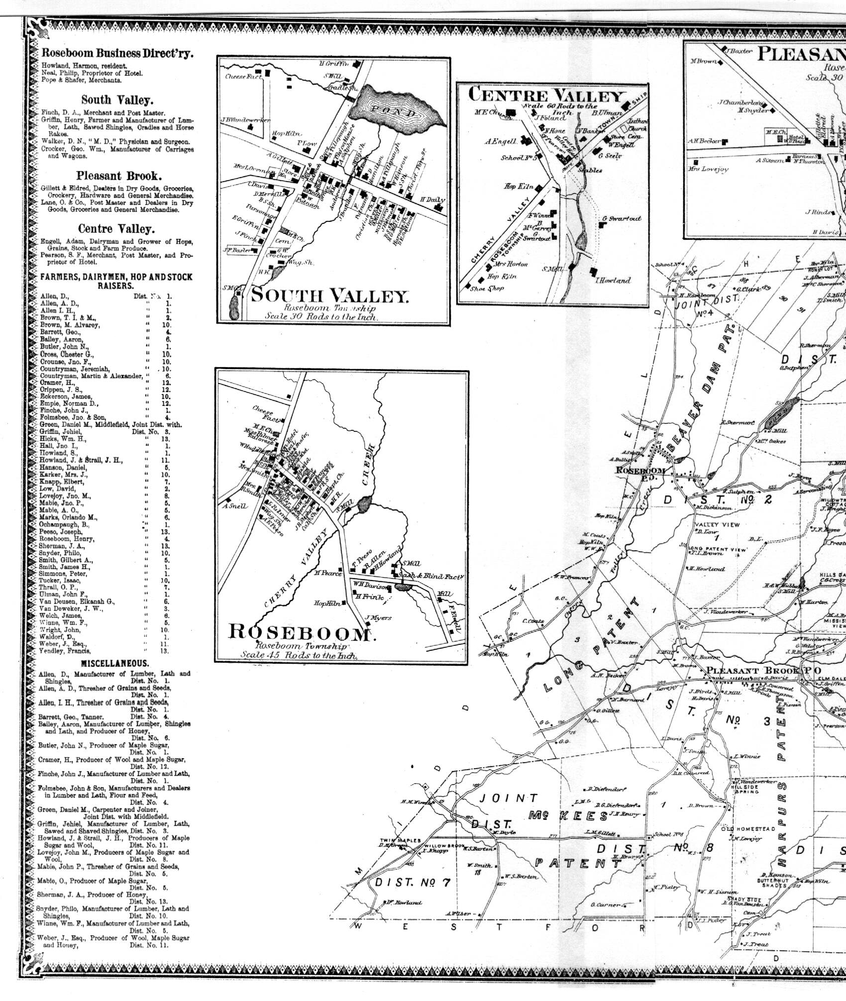 New york otsego county cherry valley - Town Of Roseboom West Section Including Villages Of South Valley Roseboom And Center Valley 641k